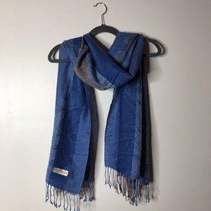 Cashmere Womens Blue Pashmina Fringe Scarf 66x28